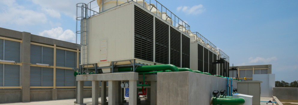 air-cooled chiller vs. water-cooled chiller - air-cooled unit on roof