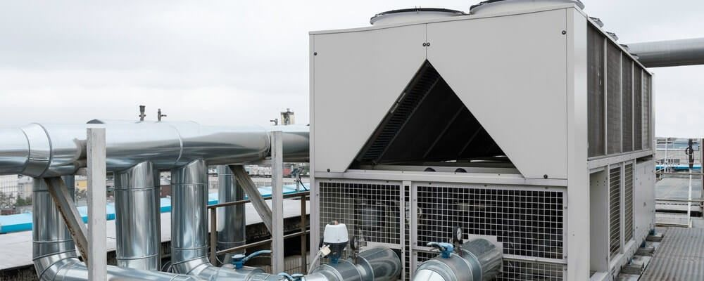 Industrial Chiller On Rooftop